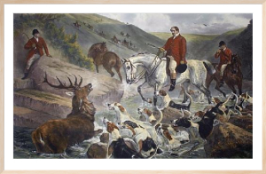 Devon & Somerset Staghounds (Restrike Etching) by Samuel John Carter