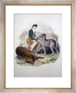 Gillie With Deer Hound & Deer (Restrike Etching) by Anonymous