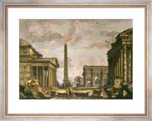 Ruins Of An Ancient Round (Restrike Etching) by Giovanni Paolo Panini