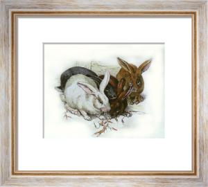 Rabbits (Restrike Etching) by Winifred Austen