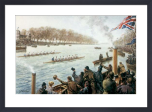 Boat Race - Dead Heat in 1877 (Restrike Etching) by Terence Gilbert