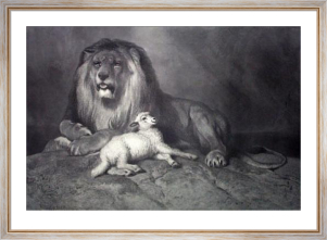 Lion & Lamb, The Golden Age (Restrike Etching) by Sir Edwin Henry Landseer