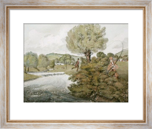 Fly-Fishing for Trout (Restrike Etching) by James Pollard