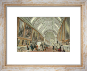Paris, Louvre Main Gallery (Restrike Etching) by Thomas Allom