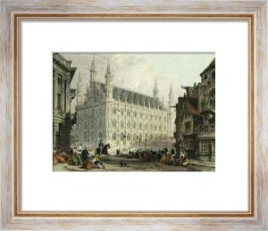Loavain, Belgium - Town Hall (Restrike Etching) by Thomas Allom