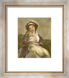 Lady with child (Restrike Etching) by Anonymous