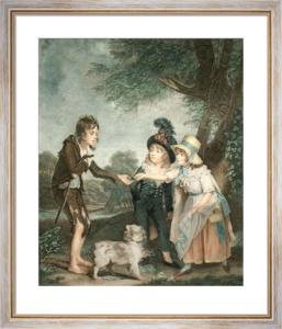 Children Relieving Beggar Boy (Restrike Etching) by Sidney R. Wombill