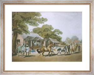 Grooms leading out horses (Restrike Etching) by Samuel Howitt