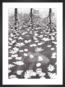 Three Worlds by M.C. Escher