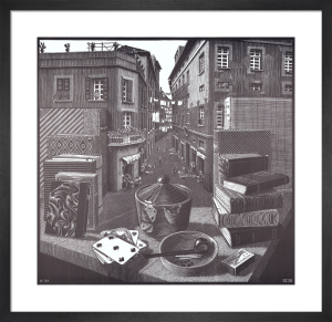 Still Life and Street by M.C. Escher