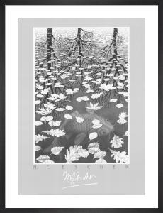 Three Worlds by M.C. Escher