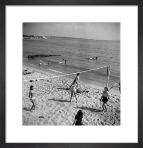 Volleyball on beach, South of France 1949 by Mirrorpix