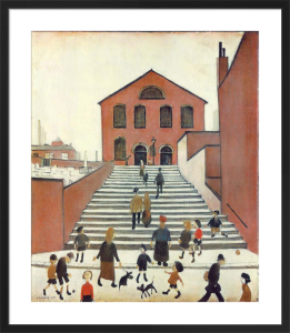 Old Church and Steps by L S Lowry