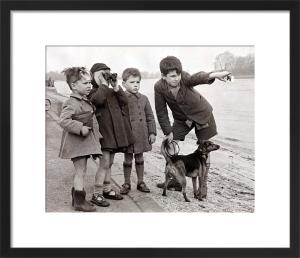 Boys on river bank, 1948 by Mirrorpix