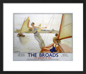 The Broads - Girl Waving from Boat by National Railway Museum