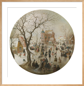 A Winter Scene with Skaters near a Castle by Hendrik Avercamp