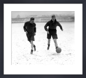 Bradford footballers train in snow, 1930s by Mirrorpix