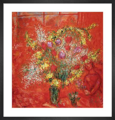 Fleurs sur fond rouge, 1970 by Marc Chagall