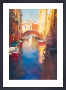 Canal With Orange Bridge by Cecil Rice