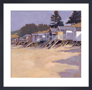 Beach Huts Against Fir Trees by John Sprakes