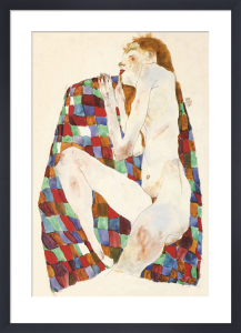 Female Nude On Coloured Blanket, 1911 by Egon Schiele