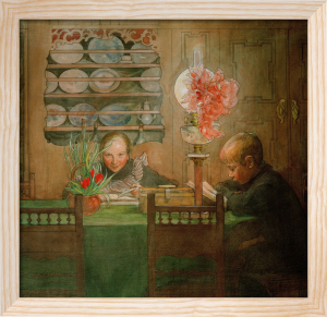 Suzanne and Ulf doing their homework 1898 by Carl Larsson