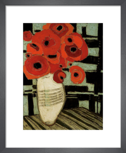 Poppies on Table with Chairs by Karen Tusinski