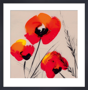 3 Poppies on Grey by Tibi Hegyesi