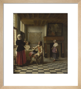 An Interior, with a Woman drinking with Two Men, and a Maidservant by Pieter de Hooch