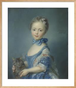 A Girl with a Kitten by Jean-Baptiste Perroneau