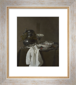 Still Life with a Pewter Flagon and Two Ming Bowls by Jan Jansz Treck
