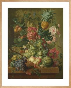 Fruit and Flowers by Paulus Theodorus van Brussel