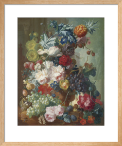 Fruit and Flowers in a Terracotta Vase by Jan Van Os