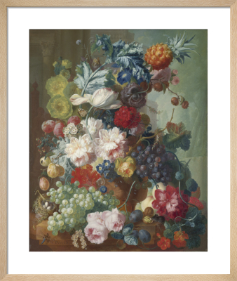 Fruit and Flowers in a Terracotta Vase by Jan Van Os
