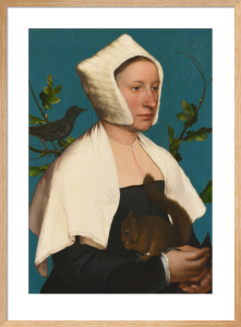 A Lady with a Squirrel and a Starling (Anne Lovell?) by Hans Holbein The Younger