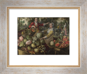 The Four Elements: Earth. A Fruit and Vegetable Market with the Flight into Egypt in the Background by Joachim Beuckelaer