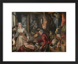 The Four Elements: Fire. A Kitchen Scene with Christ in the House of Martha and Mary in the Background by Joachim Beuckelaer