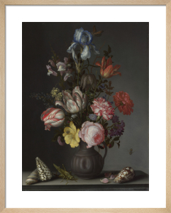 Flowers in a Vase with Shells and Insects by Balthasar van der Ast