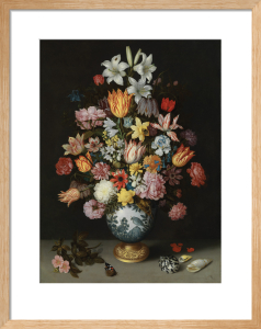 A Still Life of Flowers in a Wan-Li Vase on a Ledge with further Flowers, Shells and a Butterfly by Ambrosius Bosschaert the Elder