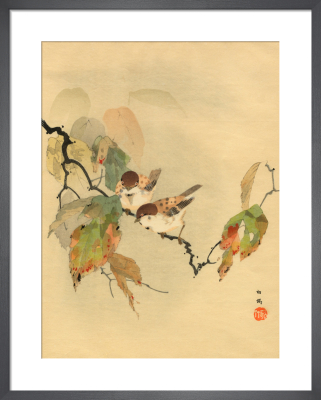 Sparrows with Autumn Leaves by Anonymous