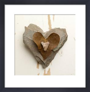 Heart Stones with Leaf by Deborah Schenck