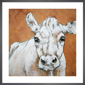 Cow on Orange 2 by Nicola King