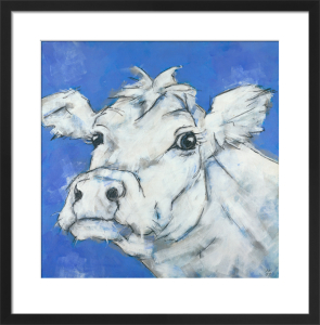 Cow on Blue by Nicola King