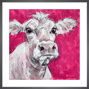 Cow on Pink by Nicola King
