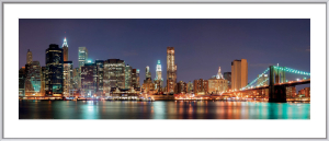 Manhattan Skyline with Brooklyn Bridge at Night by Songquan Deng
