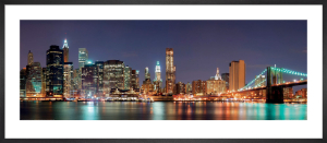 Manhattan Skyline with Brooklyn Bridge at Night by Songquan Deng