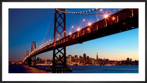 San Francisco and Bay Bridge at Sunset by Dibrova