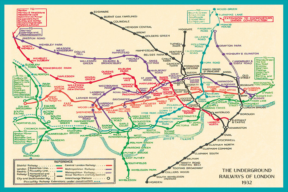 london underground map 1932 art print by transport for london king mcgaw