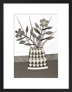 Black & White Patterned Vase by Jane Robbins