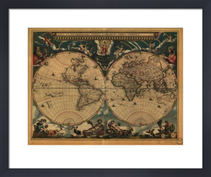 World Map 1664 by Vintage Reproduction